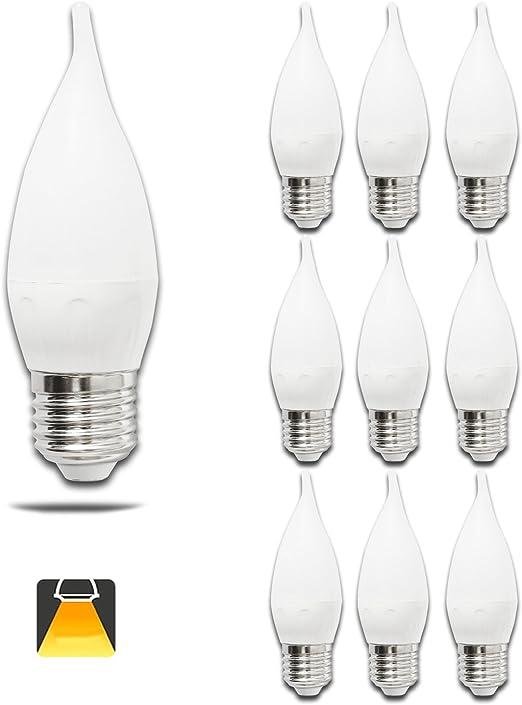 Pack de 10 Bombillas LED CL35 vela, 4W, casquillo gordo E27, 300 lumen, luz calida 3000K: Amazon.es: Iluminación