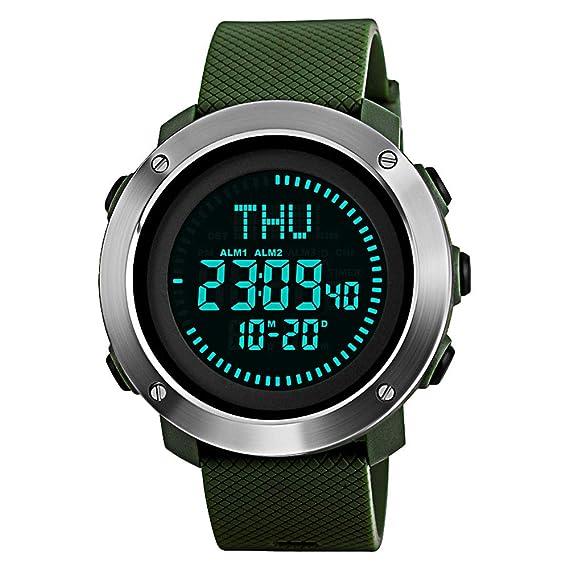 Kauo - Reloj digital deportivo con brújula multifunción para hombre, resistente al agua, con