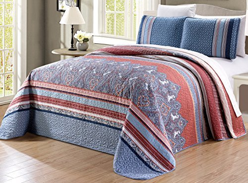 blue and coral bedding - 4