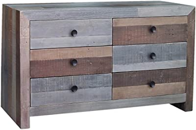 Moe's Home Collection BT-1011-37 Vintage Recycled Wood 6-Drawer Dresser, Gray