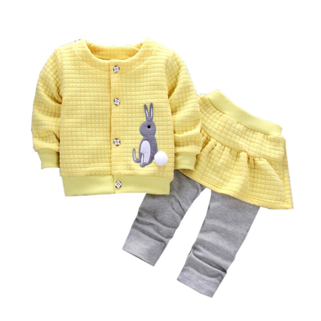 Egmy 2Pcs Toddle Baby Girls Rabbit Print Tops Coat+Pants Outfits (Size:24M, Yellow)