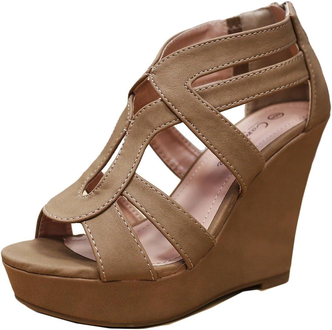 Cambridge Select Womens Open Toe Strappy Platform Wedge Heel Sandal