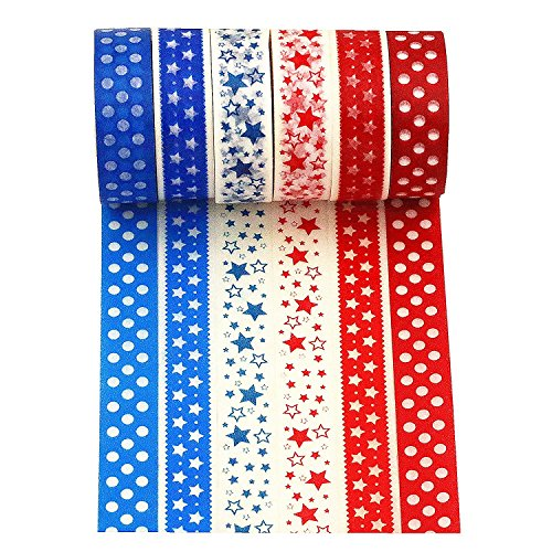 Pattern Washi Paper - Wise Bird Red and Blue Star Pattern Decorative Washi Tape Sticky Paper Masking Adhensive Fabric DIY Tape for Dairy, Photo Frame and Journal, Premium Value Pack for Art and Craft Gifts, 30 Ft/roll, Repositionale, Writable, Detachable, Set of 6