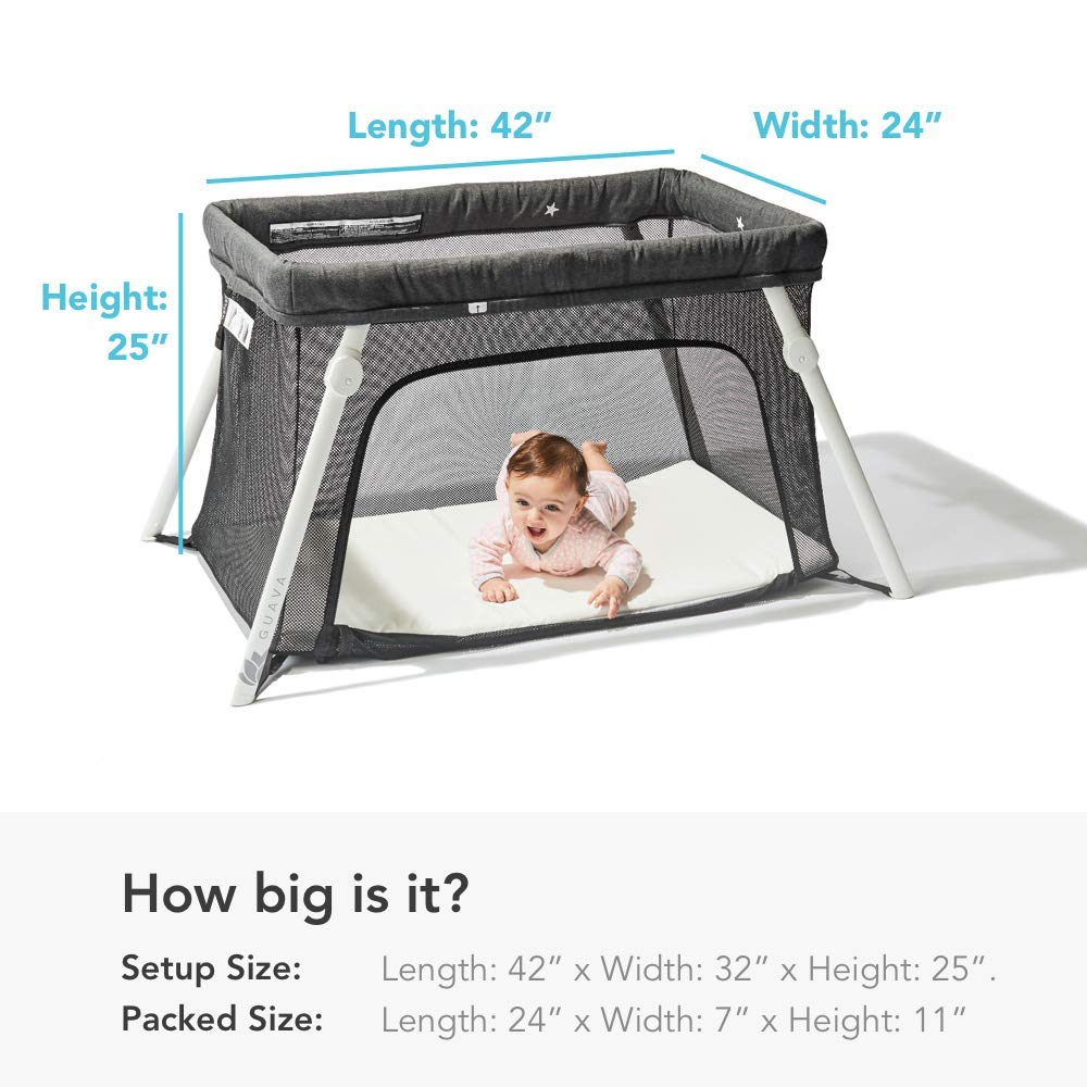 Lotus Travel Crib - Backpack Portable, Lightweight, Easy to Pack Play-Yard with Comfortable Mattress - Certified Baby Safe by Guava Family (Image #7)