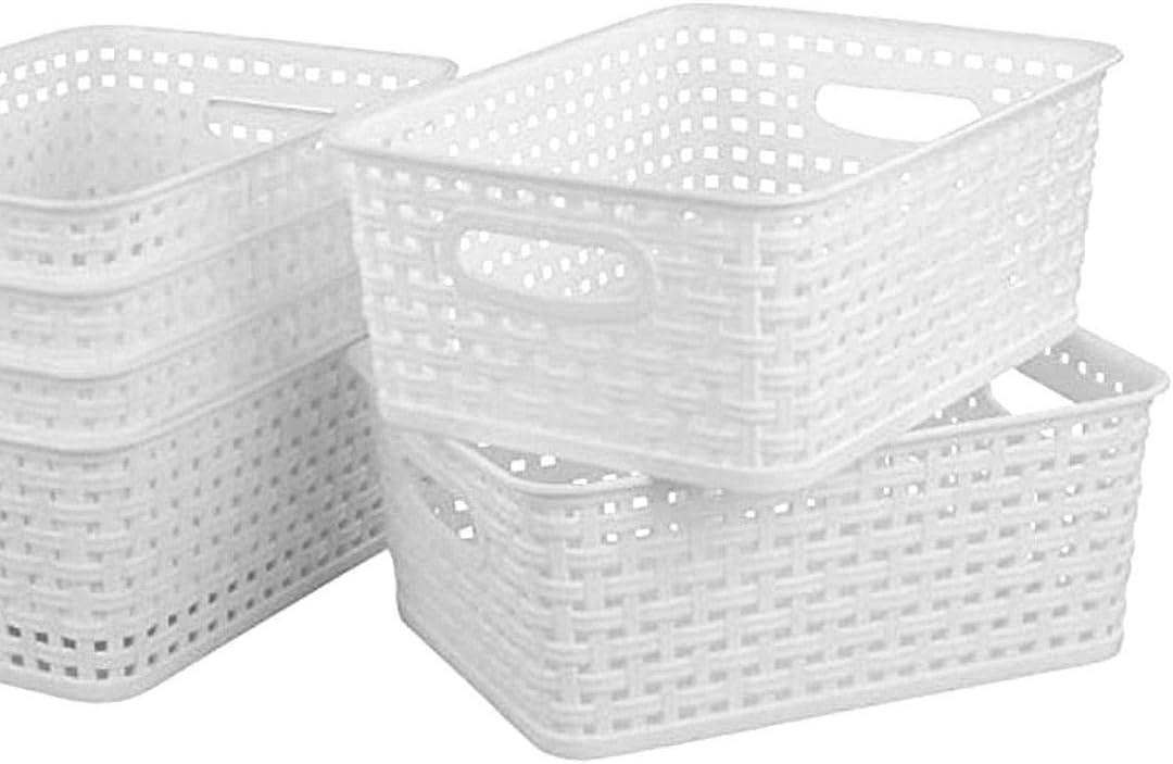 Walea Weave Design Small Plastic Durable Storage Basket No Lid 25 19.5 10.5cm for Bedroom Bathroom and Kitchen 1 Pack