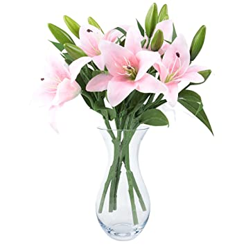 Rosa Lilien Bush Kunstliche Blume Nniuk Lily Real Touch Lilien