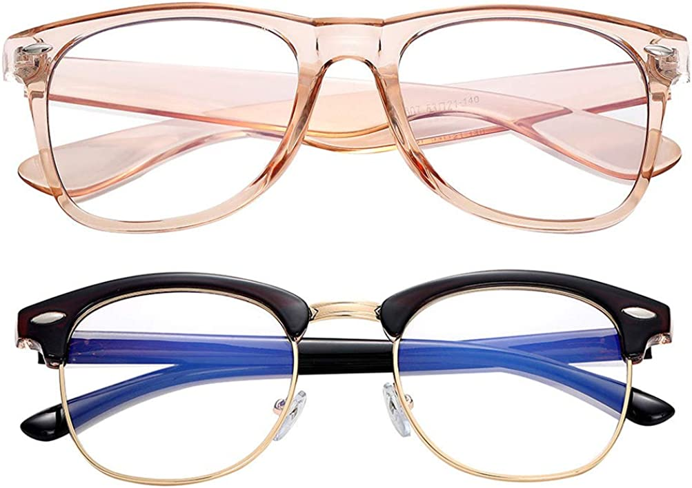 Half frame///small fresh art girls anti-blue radiation glasses gold frame brown temples
