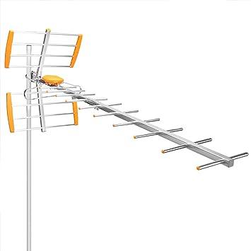 OurLeeme 80Mile Alcance de recepción 470MHz-860MHz al Aire Libre Antena de Alta Ganancia Antena HDTV amplificada al Aire Libre/ático/Techo Antena HDTV