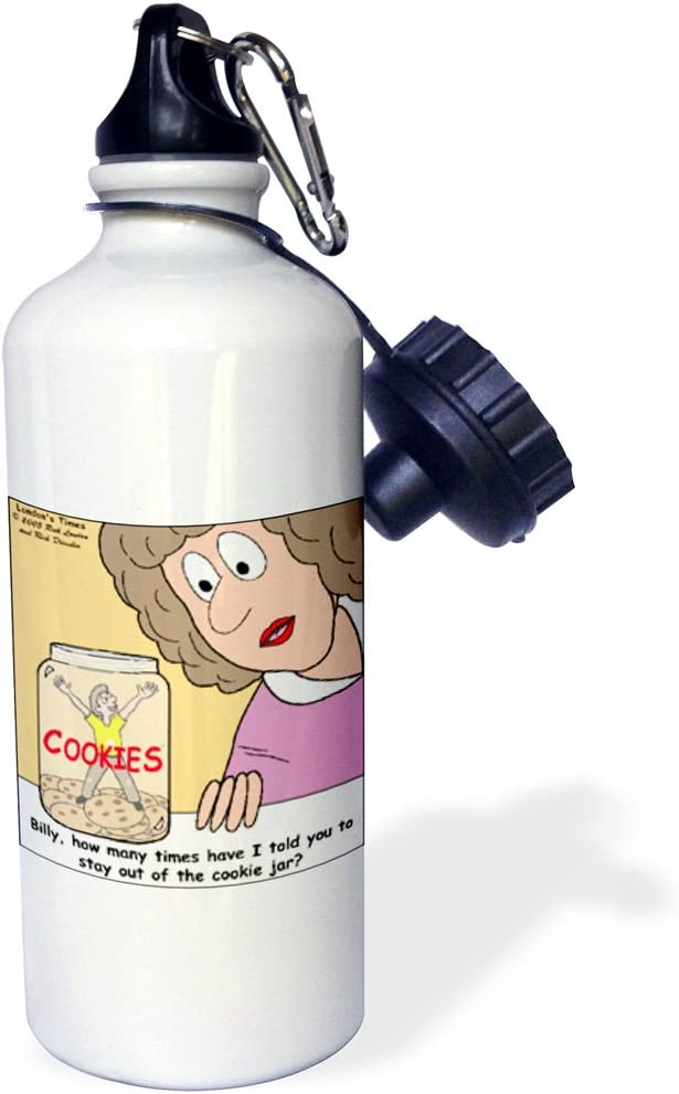 21 oz 3dRose in The Cookie Jar Again Sports Water Bottle White
