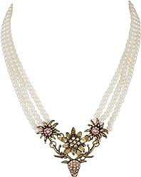 SIX Kette Perlenkette mit Hirsch-Motiv und Strasssteinen, ideal als Trachtenschmuck, mit Edelweiß-Anhänger, altgold (741-675)