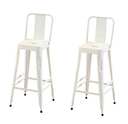Rajtai Shree Metal Chair for Kitchen, Restaurant, Bar, Cafe, Garden (White Glossy Colour, 40.6 x 40.6 x 106.7cm) - Set of 2