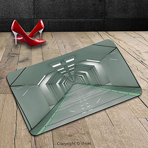 Custom Machine-washable Door Mat Apartment Decor Scifi Corridor Inside Space Station Ship Laboratory Technology Fiction Picture Artwork Decor Grey Indoor/Outdoor Doormat Mat Rug Carpet
