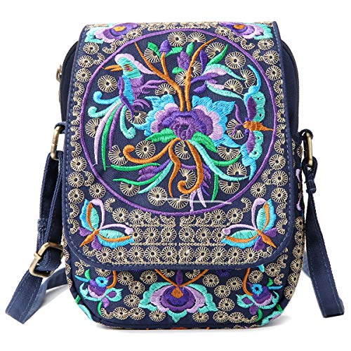 d3f7e92761 Embroidered Ethnic Small Canvas Crossbody Bag Cell Phone Bag for Women Handmade  Mini Shoulder Bag Wallet