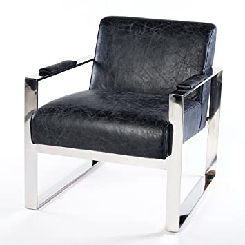 Phoenixarts 645 - Sillón Vintage Piel auténtico Negro, Silla ...