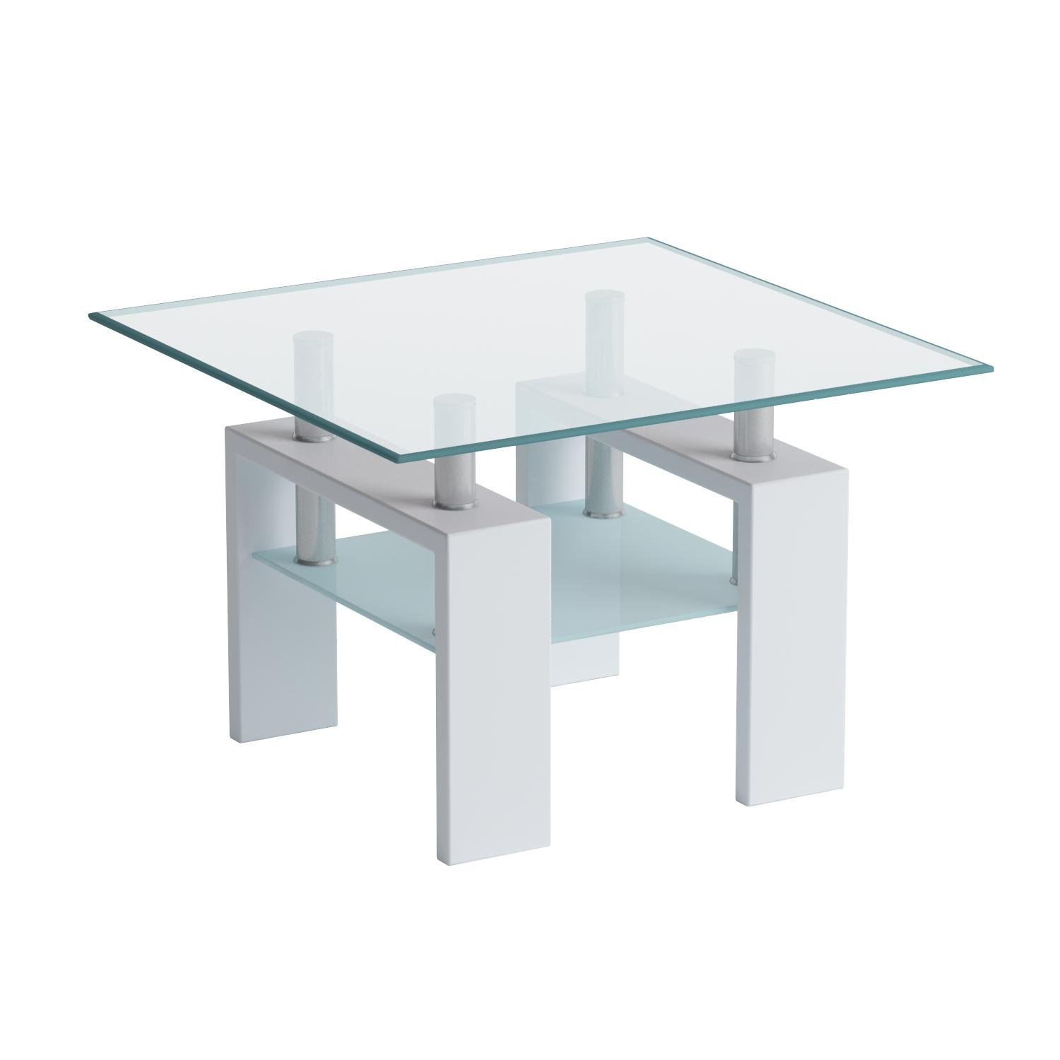 Global Furniture Clear/Frosted Occasional End Table with Glossy White Legs by Global Furniture USA