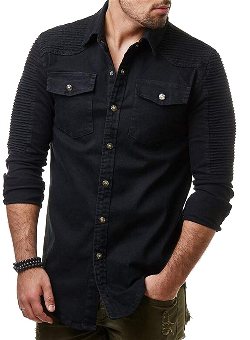 OTW Mens Long Sleeve Casual Washed Button Up Pockets Chest Ruched Denim Work Western Shirt
