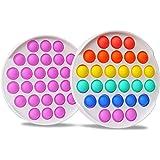 CONQLOAD Fidget Toys Rainbow Purple Round White Hard Basic Bubble Fidget Toy,Relief Irritability Anti-Anxiety