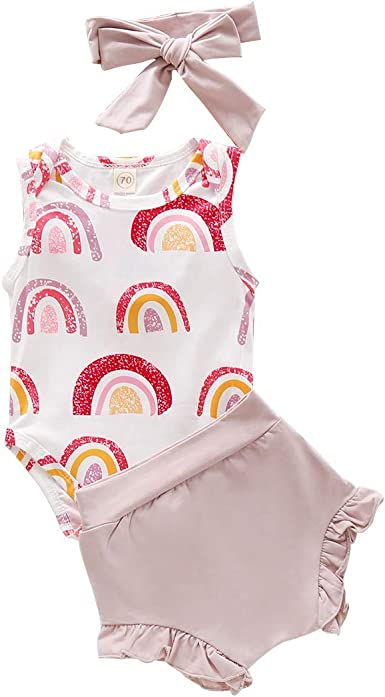Pants Shorts+Headband Outfit Sets Newborn Baby Girl Clothes Infant Kids Ruffle Vest Tops