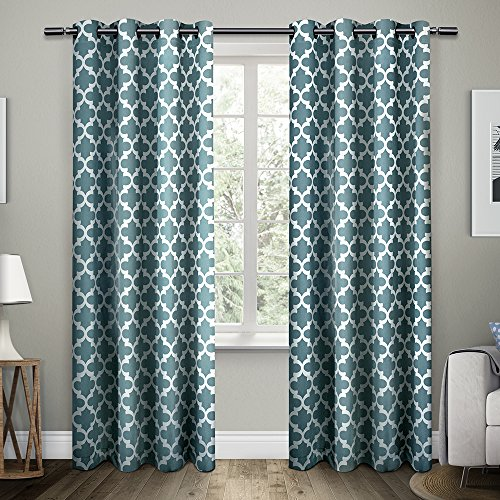 Exclusive Home Curtains Neptune Cotton Grommet Top Window Curtain Panel Pair Teal 54x96