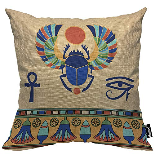 Mugod Scarab Decorative Throw Pillow Cover Case Egyptian Insect Cute Scarab Beetle Lotus Ethnic Tribal Blue Cotton Linen Pillow Cases Square Standard Cushion Covers for Couch Sofa Bed 18x18 - Pillow Beetle