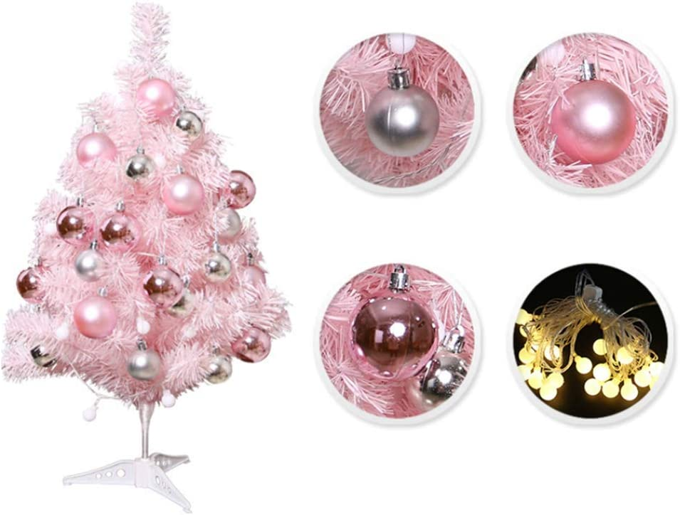 T-REASURE 60cm Tabletop Xmas Tree with 24 Glittery Matte Balls and LED Light String Ornaments, DIY Mini Artificial Pink Christmas Tree for Christmas Party, Driveway, Yard, Garden Decor
