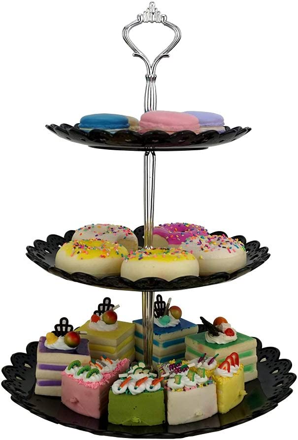 LIONWEI LIONWELI 3-tier Black Silver Plastic Dessert Stand Pastry Stand Cake Stand Cupcake Stand Holder Serving Platter for Party Wedding Home Decor-Large