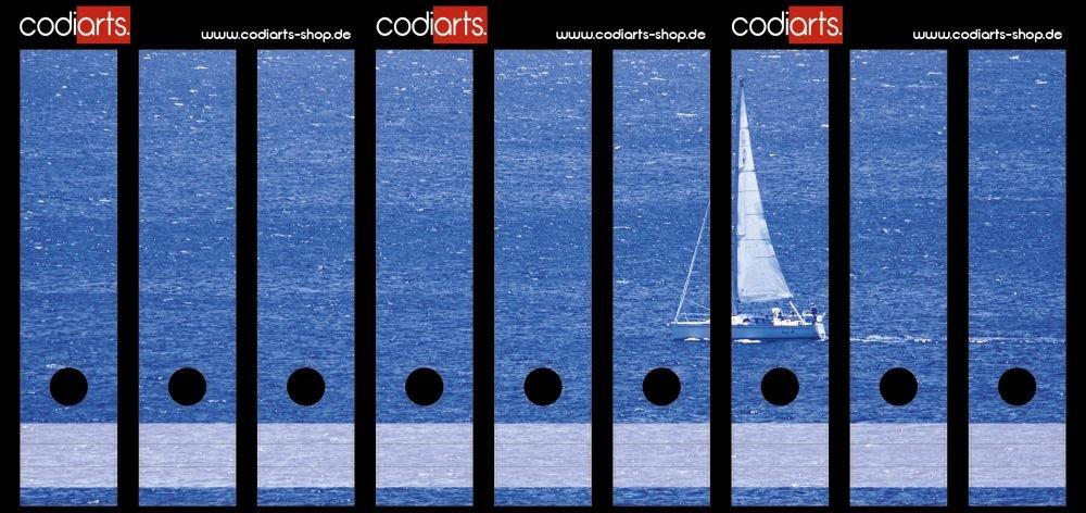 codiarts Set 9 Pezzi Adesivi Etichette per raccoglitori autoadesive (raccoglitori) Barca a Vela Blu Mare codiarts.