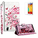 Funyye Strap Flip Cover for Samsung Galaxy S9,Stylish 3D Painted Pink Tree Magnetic Folio Wallet Leather Case with Credit Card Holder Slots PU Leather Cover for Samsung Galaxy S9,Full Body Shockproof KickStand Protective Soft Silicone Case for Samsung Galaxy S9 + 1 x Free Screen Protector