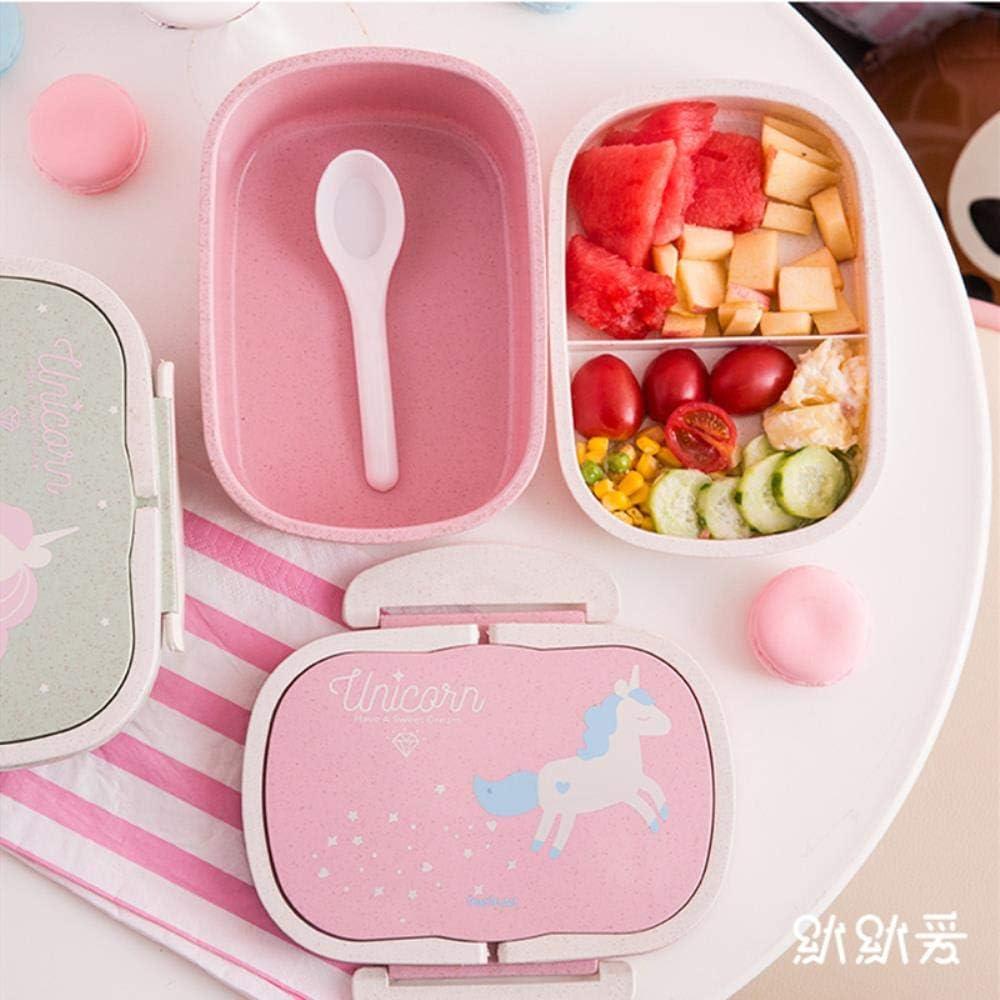 Cute Cartoon Licorne Enfants D/éjeuner Set Fille /él/ève de l/école de bo/îte Bento Box bo/îte /à Lunch Thermique avec Sac /à Couverts et Le d/éjeuner,Green