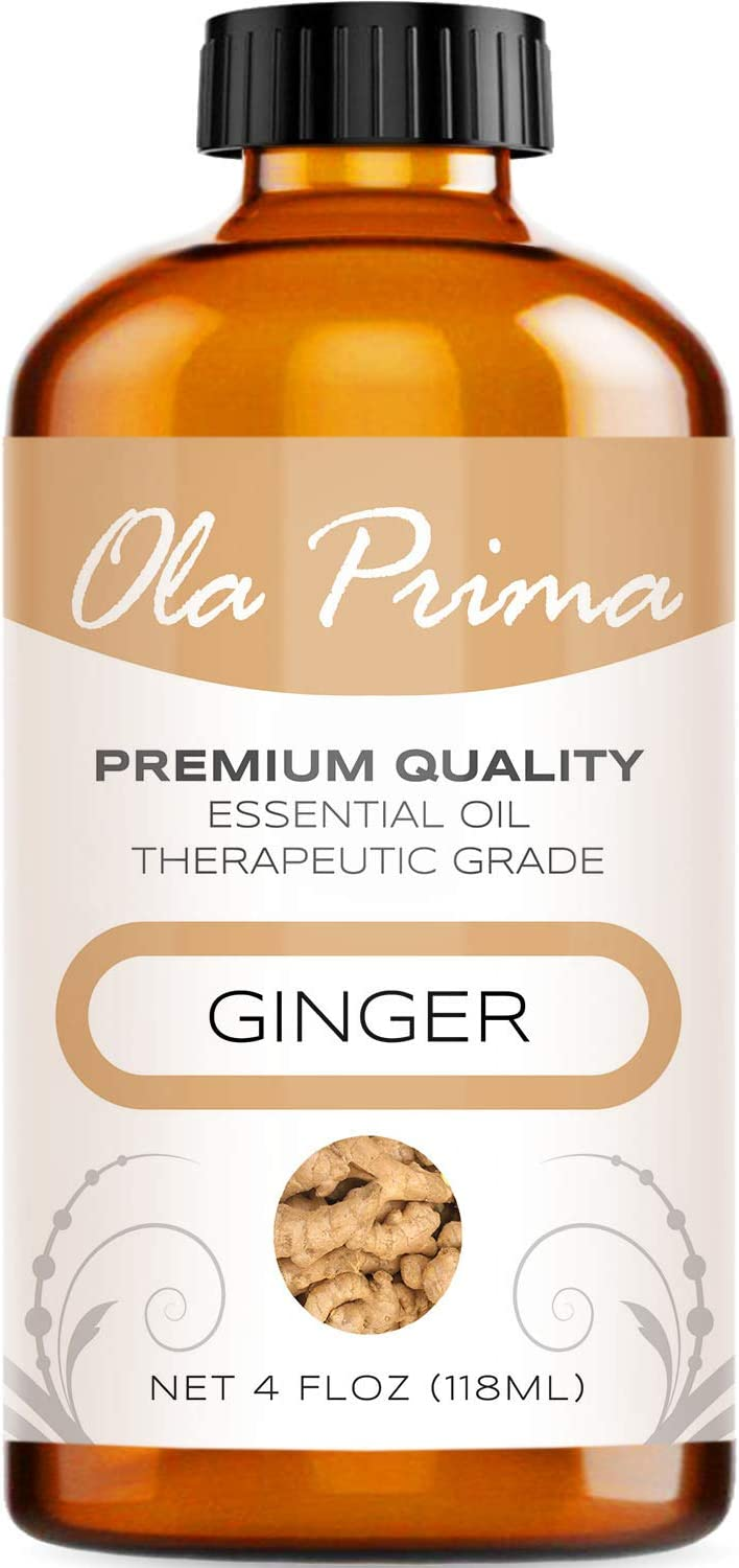 Ola Prima 4oz - Premium Quality Ginger Essential Oil (4 Ounce Bottle) Therapeutic Grade Ginger Oil