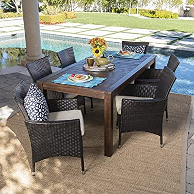 Great Deal Furniture Taft Outdoor 7 Piece Dining Set with Dark Brown Finished Wood Table and Multibrown Wicker Dining Chairs with Beige Water Resistant Cushions
