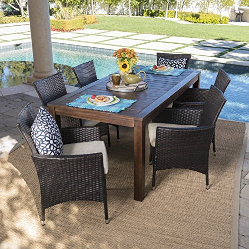 Taft Outdoor 7 Piece Dining Set with Dark Brown Finished Wood Table and Multibrown Wicker Dining Chairs with Beige Water Resistant Cushions (Chair Dark Brown Wicker)