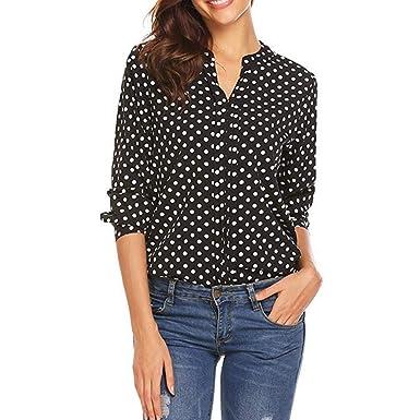ZODOF Camisa Mujer Mujer Suelto Polka Dot Camisetas Sudaderas Blusa Pullover Casual Tops Botón con Cuello
