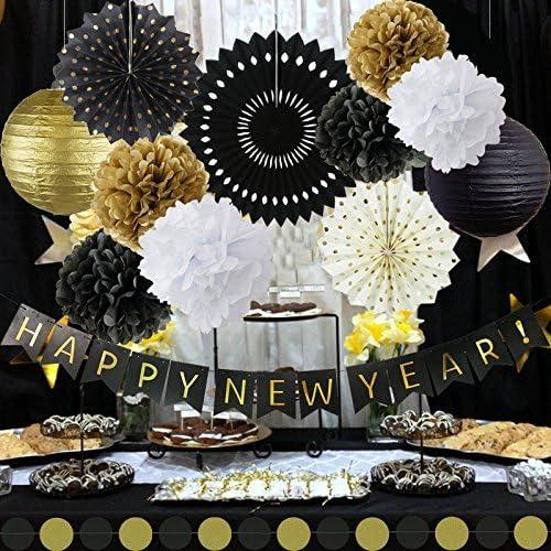 Erosion Frohes Anniversaire Joyeux Anniversaire Lanternes Papier de Soie Fleurs Pom Poms Papier /à Suspendre Papier Fans Silvester Party D/écoration