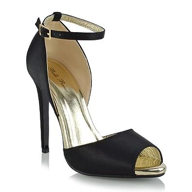 Damen Fesselriemen High Heel Peep Toe Elfenbein Satin Braut Sandalen EU 39 ESSEX GLAM a845znAUfa