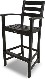 Trex Outdoor Furniture Monterey Bay Bar Arm Chair, Charcoal Black