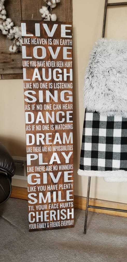 Live Laugh Love Sing Dance Dream Play Give Smile Cherrish Family Farmhouse Fixer Upper Style Wall Art Huge Wood Sign