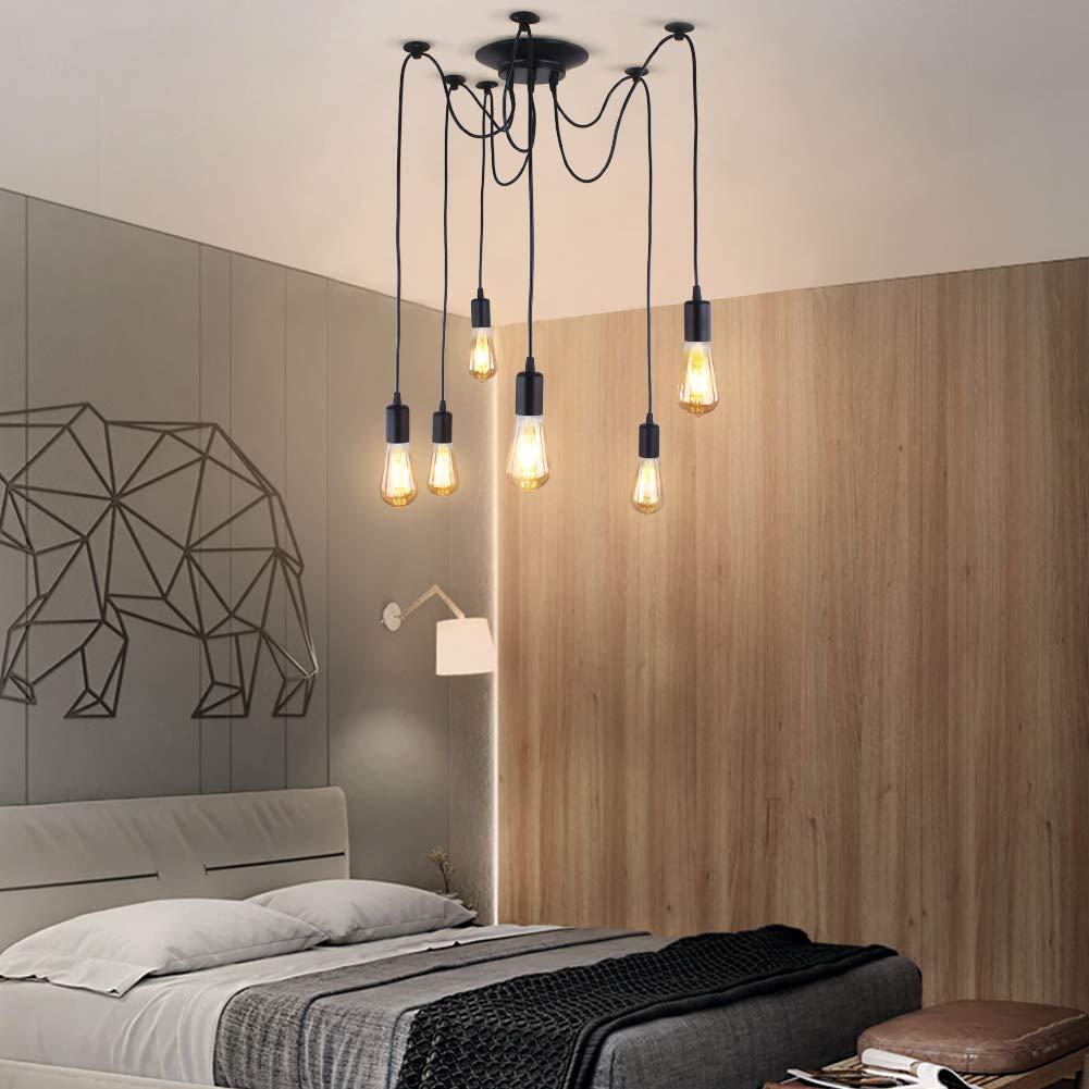 Industrie Einstellbare Pendelleuchte Beleuchtung Spinne Deckenleuchte E27 Rustikale H/ängeleuchte f/ür Esszimmer Bauernhof Hotel Dekoration 5 Arme