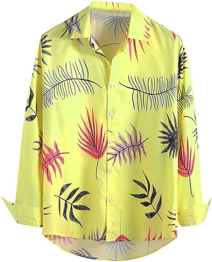 Moda Impresa Camisa de Manga Larga de los Hombres Talla Grande Blusa Cómoda Tipo A: Amazon.es: Ropa y accesorios