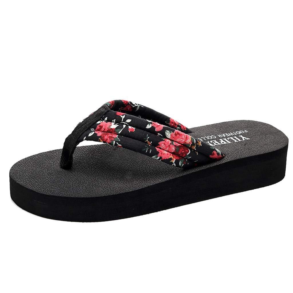 AOJIAN Shoes Women's Sandals Floral Thick Elegant Indoor Outdoor Pump Flats Flip Flop Slide Slipper Clog Mule Black