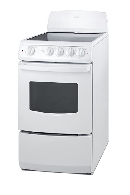 white electric range. Summit REX205W Fba Pearl 20\u0026quot; Electric Range With Black Ceramic Glass  Cooktop, Exterior, White Electric Range