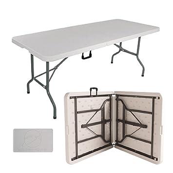 6 pies plegable caballete mesa para picnic Catering barbacoa de jardín multiusos, fácil de plegar