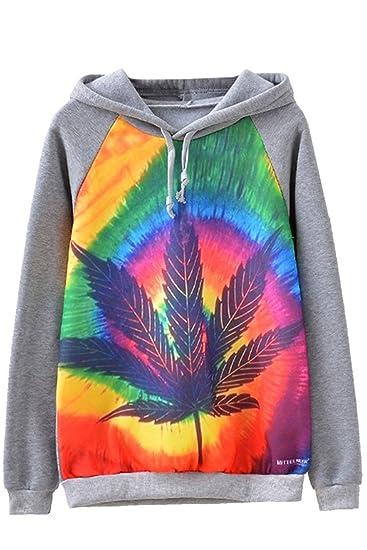 PinkWind Women's Marijuana Leaf Loose Fitted Active Sport Fleece Hoodie Sweatshirt S