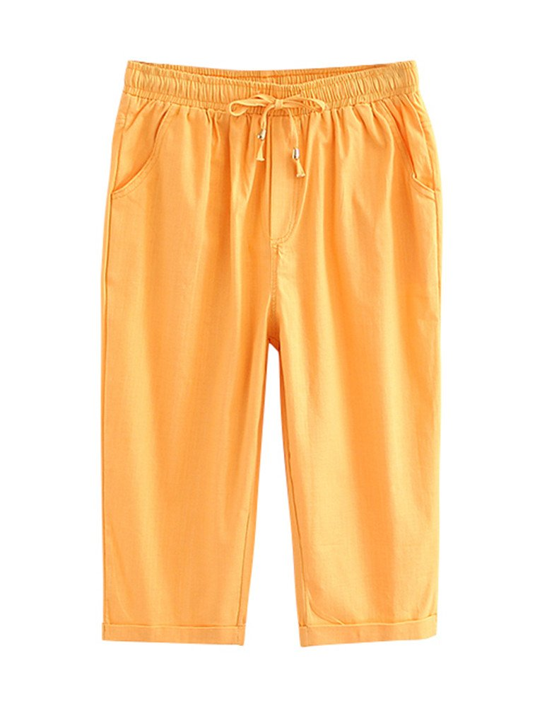 ACE SHOCK Capri Pants Women Cotton Linen, Relaxed Cropped Trousers with Belt Plus Size (2X, Yellow)