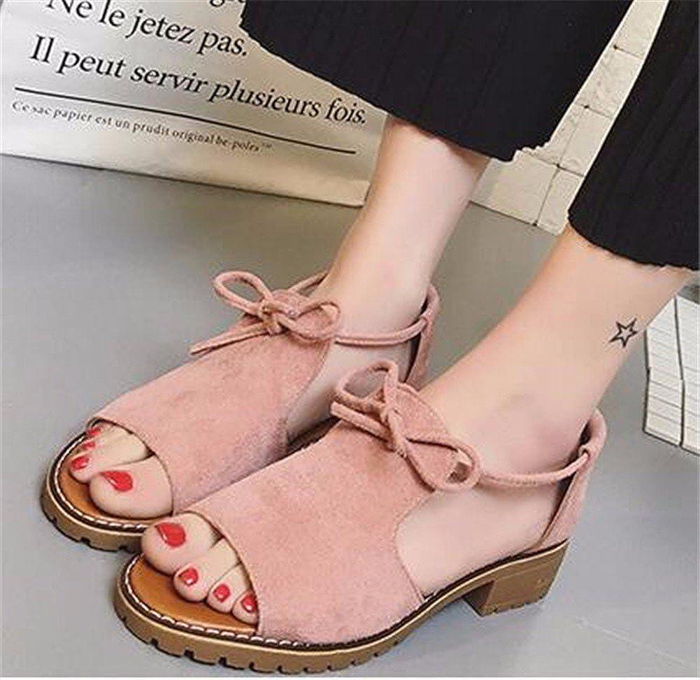 YUCH Tägliche Student Schuhe mit Rauhe in Ferse und Flacher Boden in Rauhe der Frauen- Sandalen Pink 497881