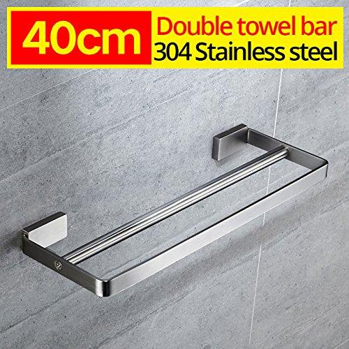 LOVELY 304 Stainless Steel Towel Rack Bathroom Towel Rack Holder Square Towel Shelf Bathroom Shelf Single Dual Triple Racks Double bar 40CM
