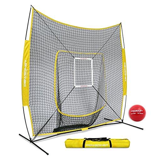 PowerNet DLX 7x7 Baseball Softball Hitting Net + Weighted Heavy Ball + Strike Zone Bundle (Yellow) | Training Set | Practice Equipment Batting Soft Toss Pitching | Team Color | Portable Backstop - Compact Bag Nylon Tool