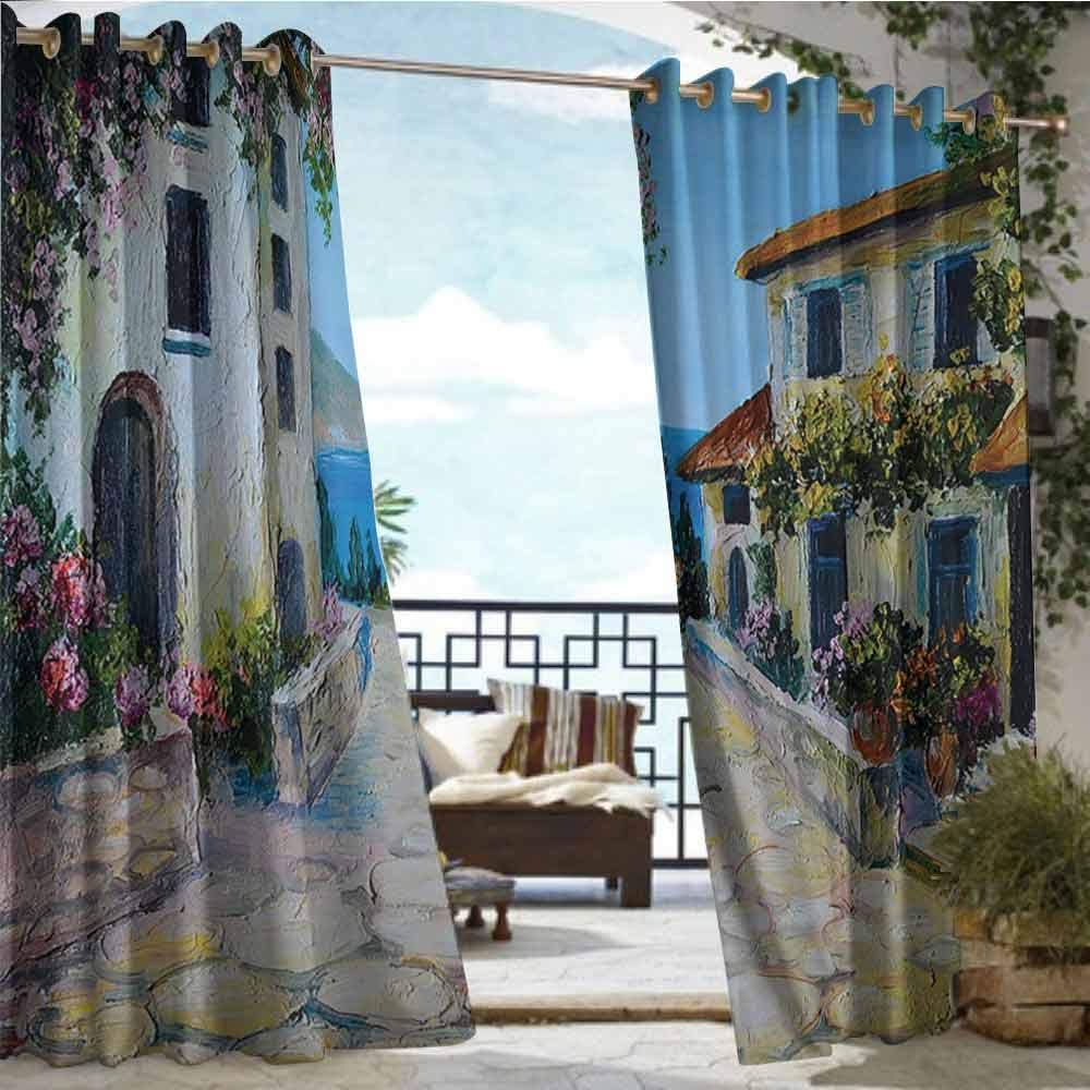 Balcony Curtains Lakehouse Decor Collection,Vintage Houses in an Ancient Village Near The Sea with Colorful Plants Around Oil Painting,Mustard Blue Ivory Green,W96 xL108 Outdoor Curtain Waterproof R by Andrea Sam