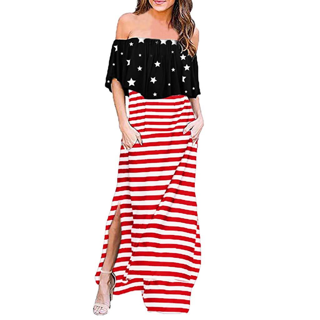 Hstore Women Red and White Stripes & Stars Pattern Side Open Beach Dress, Ladies Summer Fashion Off-Shoulder Ruffle Dress