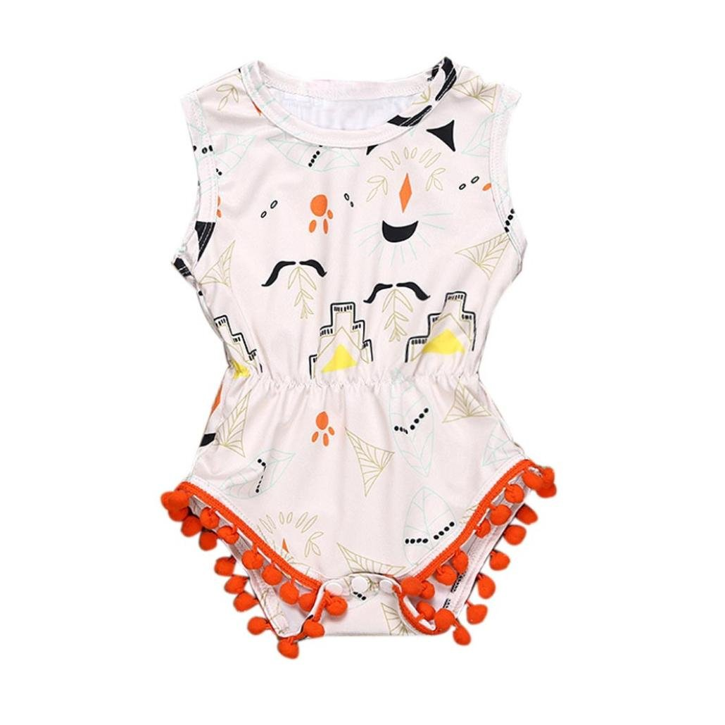 IGEMY Newborn Baby Girls Sleeveless Printing Pompom Romper Bodysuit Jumpsuit Clothes Cute